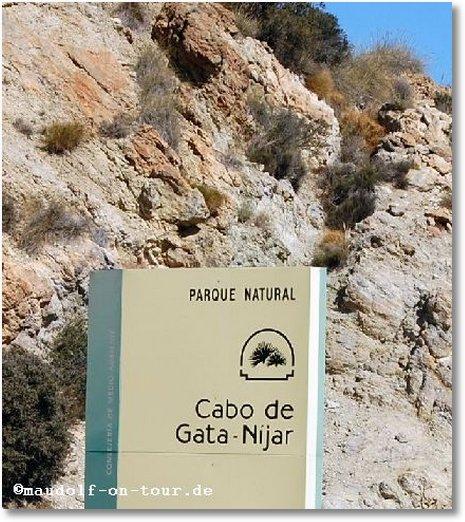2016-03-02 Serpentinenfahrt Naturpark Cabo de Gata Schild